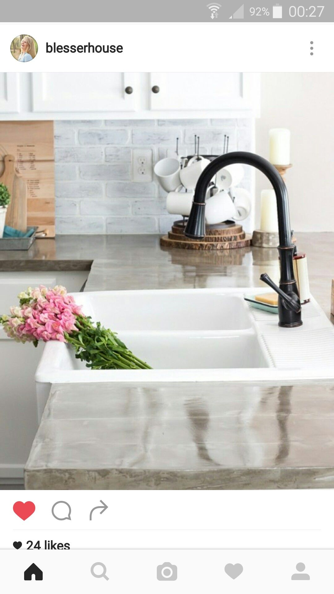 Tap ware and glossy concrete Ikea farmhouse sink