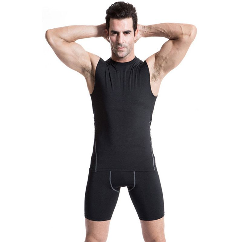 Men Gym Running Sport Body Compression Wear Base Layer Tank Top Vest Under Shirt