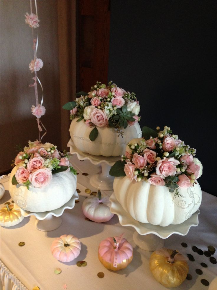 "White pumpkin and baby pink roses for ""little pumpkin"" theme baby shower #Fall #Autumn #Season #Home"