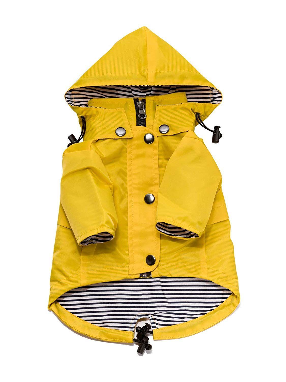 Ellie dog wear yellow zip up dog raincoat with reflective