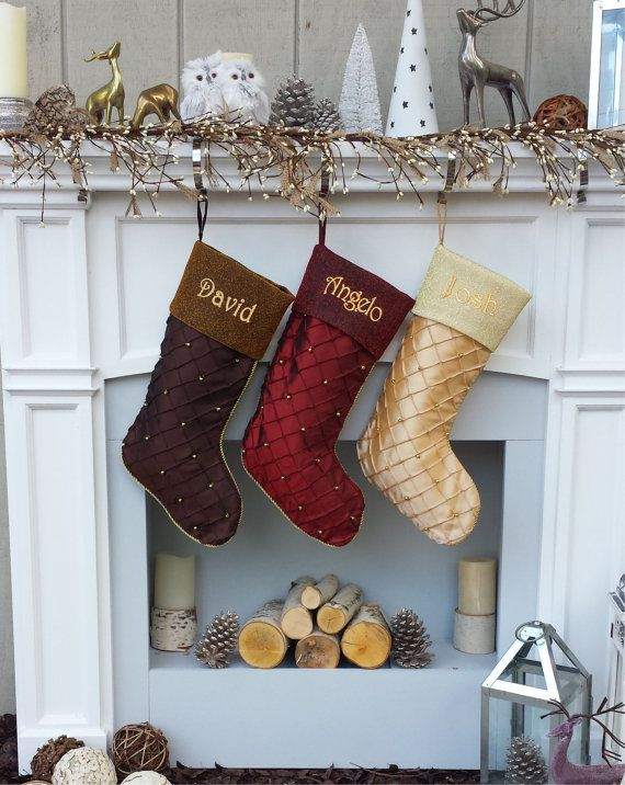 Items Similar To Personalized Christmas Stockings Gold Beads Quilted Custom Embroidered Burgundy Chocolate Ivory On