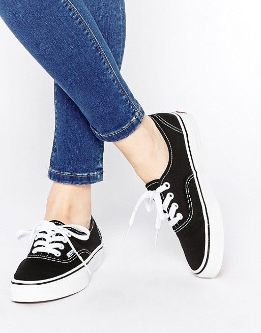 011ab00573 Vans Authentic Classic Black and White Lace Up Trainers
