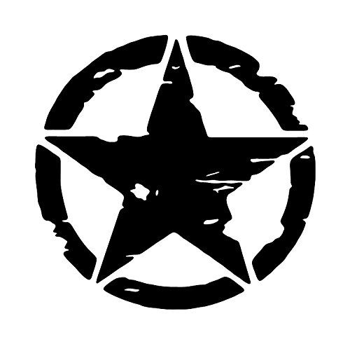 Decal Army Jeep Distressed Star Vinyl Sticker SILVER