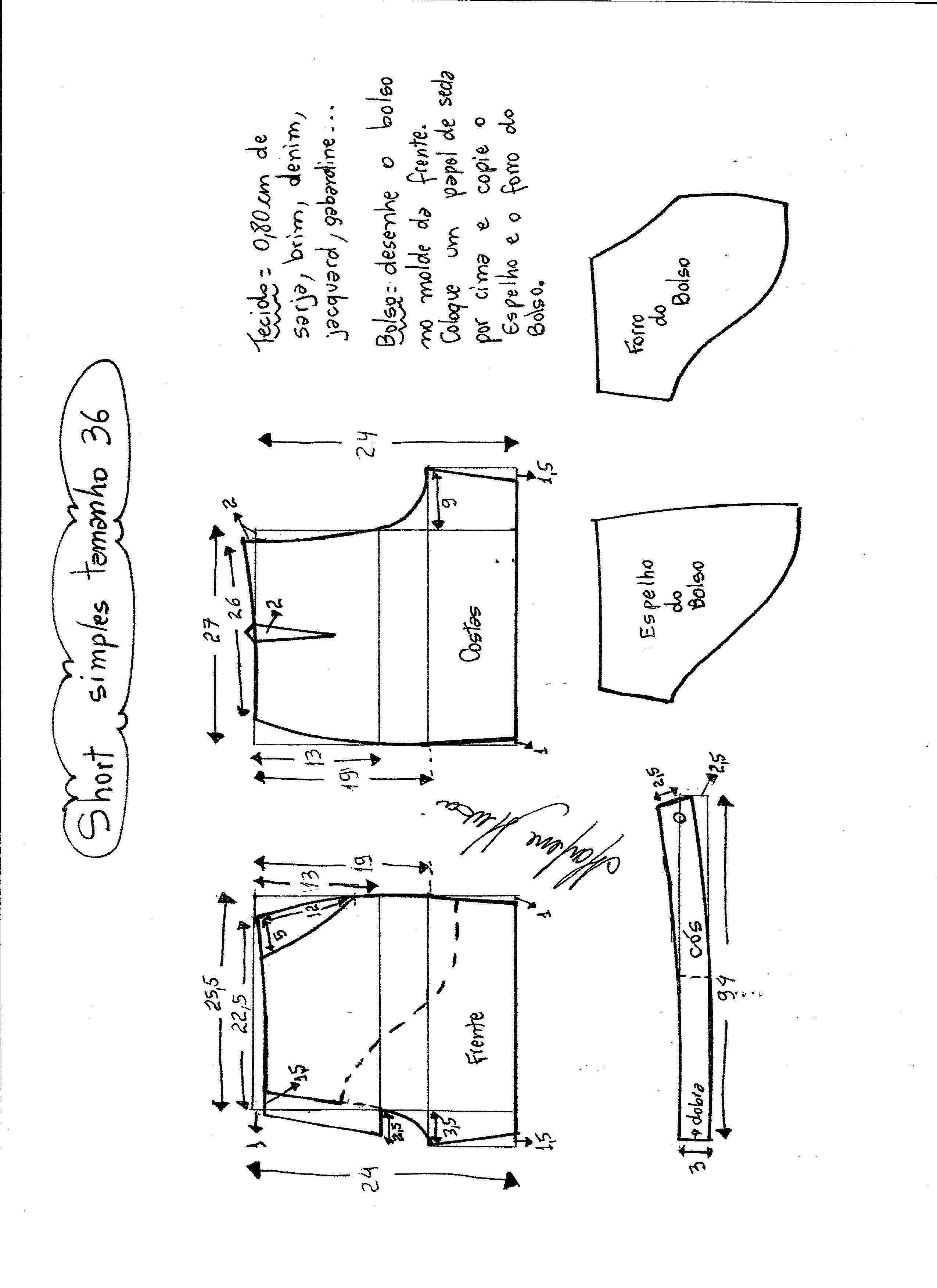 Short simples cós médio   costura   Pinterest   Molde, Costura y ...