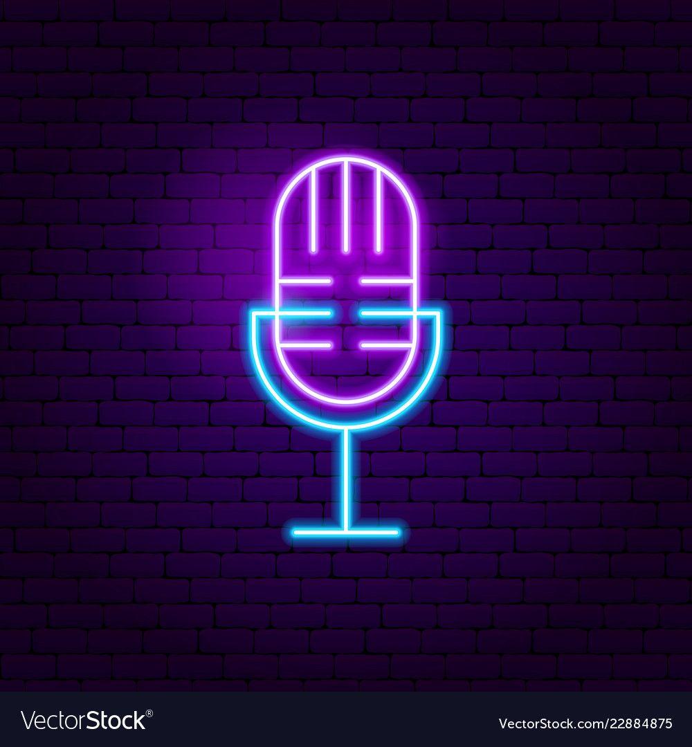 Live microphone neon sign vector image on Placas de néon