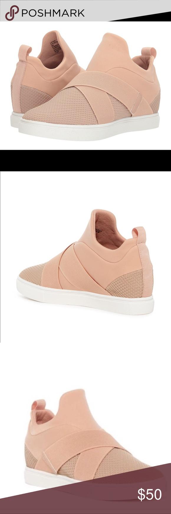 2765ae9910b Steve Madden Laynie Wedge Sneaker pink Crossover elastic straps ...