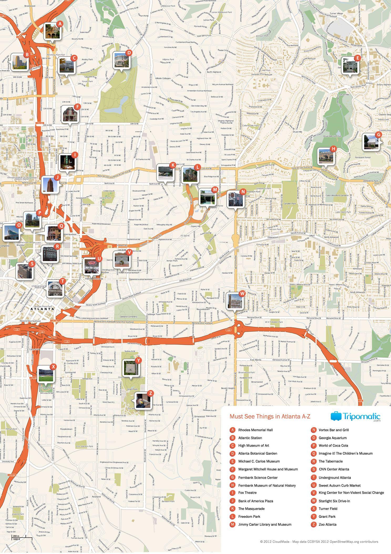 Atlanta Printable Tourist Map Tourist Map Atlanta
