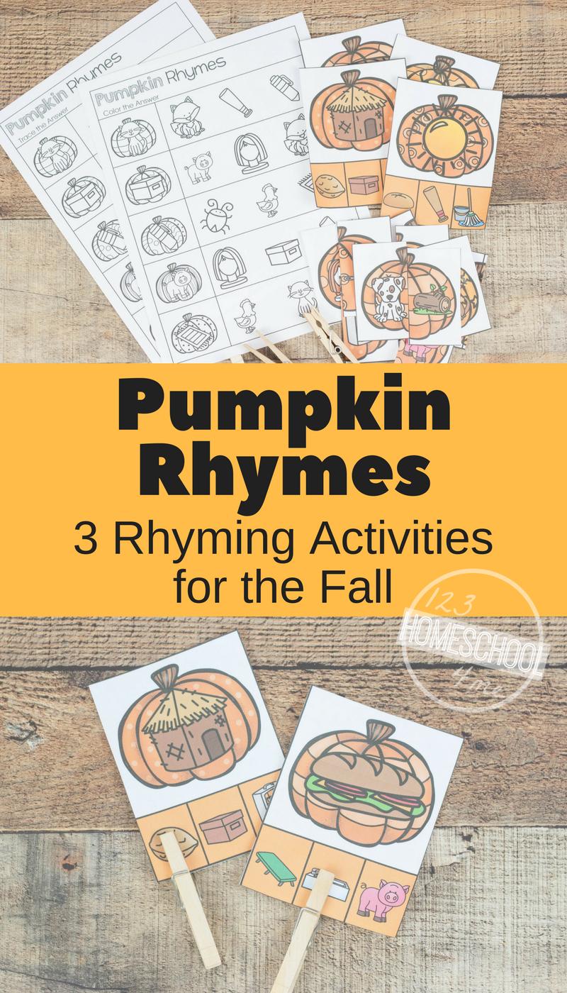 FREE Pumpkin Rhyming Words Rhyming activities, Rhyming