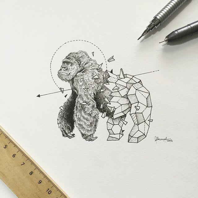 Geometric beasts gorilla tinta pinterest animaux geometrique tatouages et dessin - Tatouage geometrique animaux ...