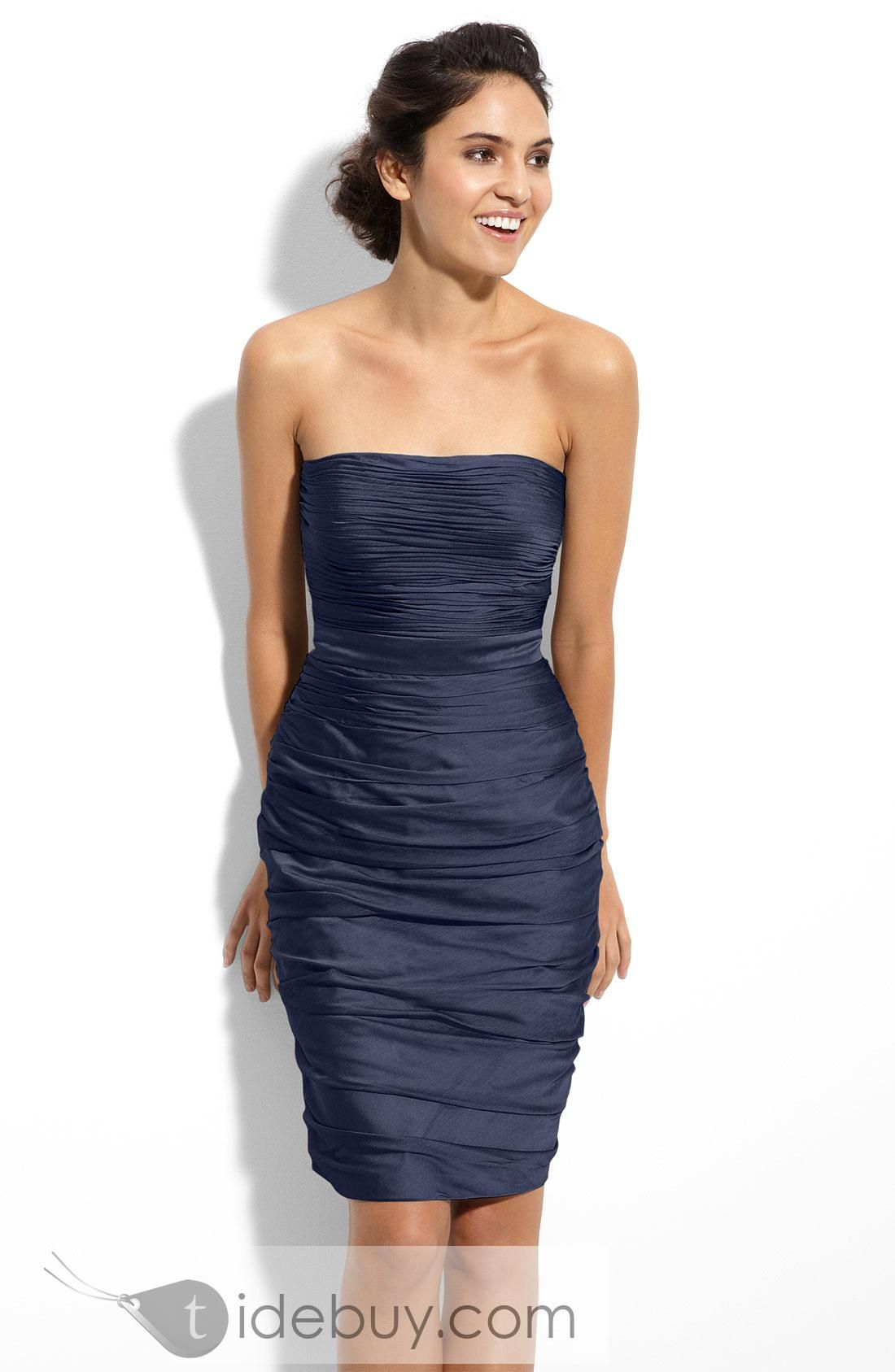 Unique sheathcolumn shortminilength strapless bridesmaid dress