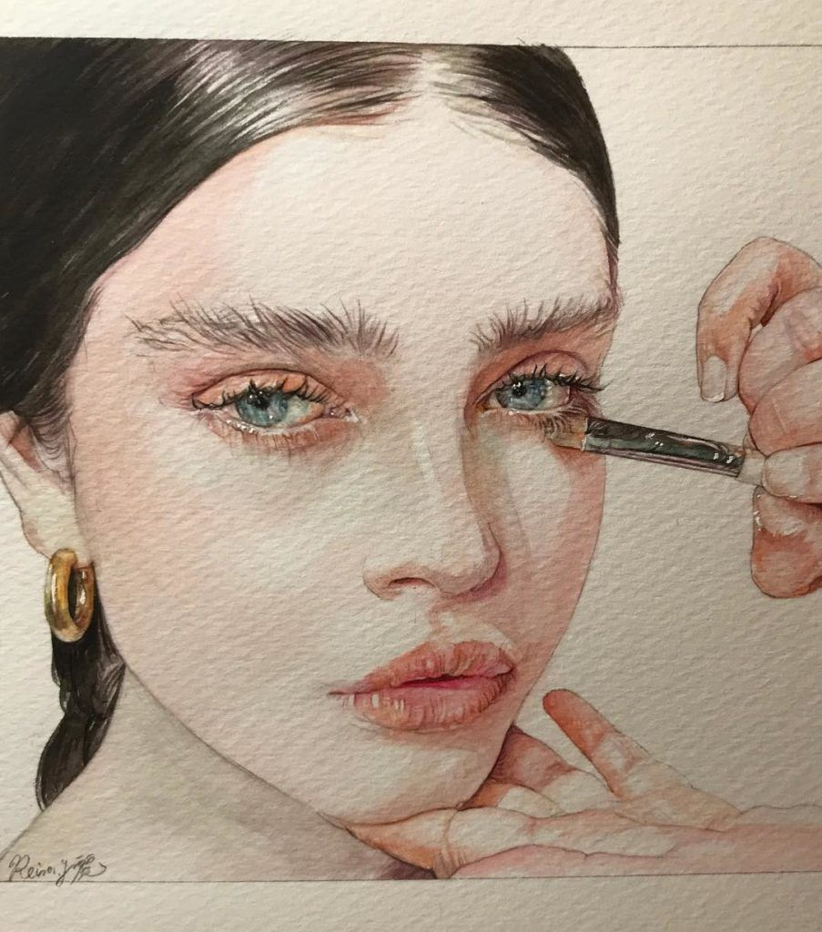 Watercolor Art By Reina Yamada L Art Du Portrait Visage A L