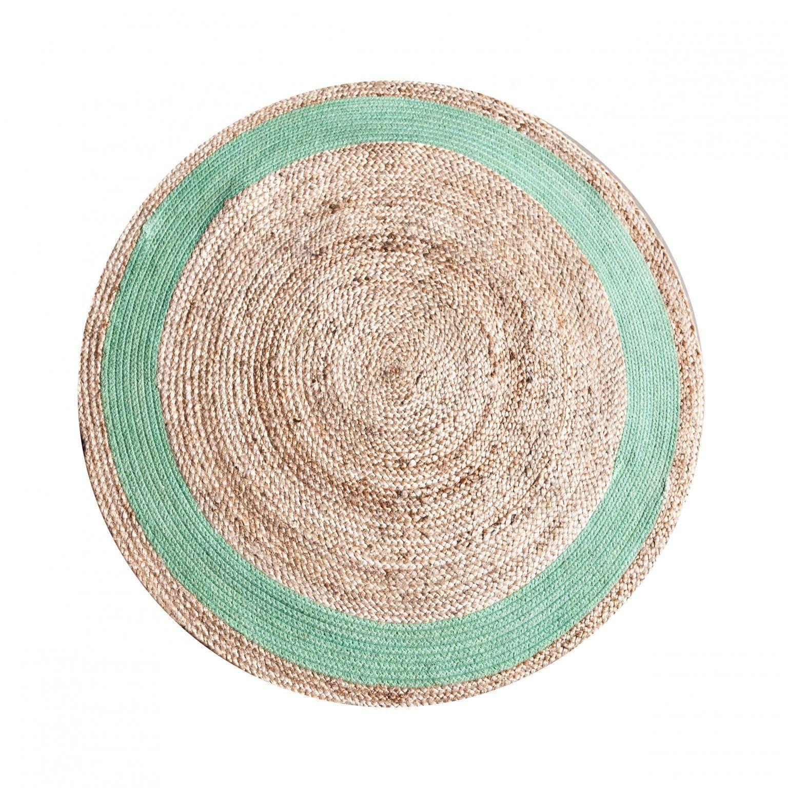 By-Boo Vloerkleed 'Jute Round' 120 cm, kleur groen