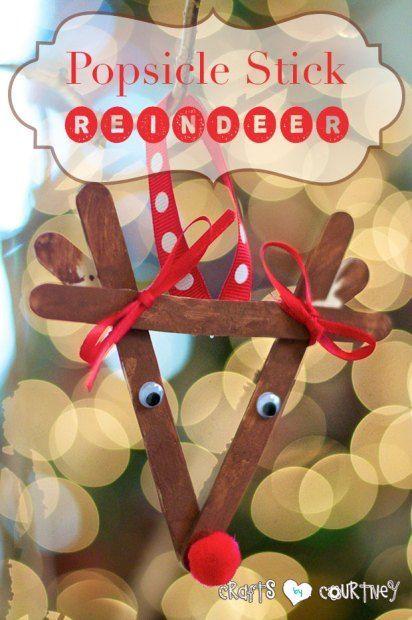 Kids Christmas Craft Popsicle Reindeer 4 Easy To Make DIY Kid Ornaments