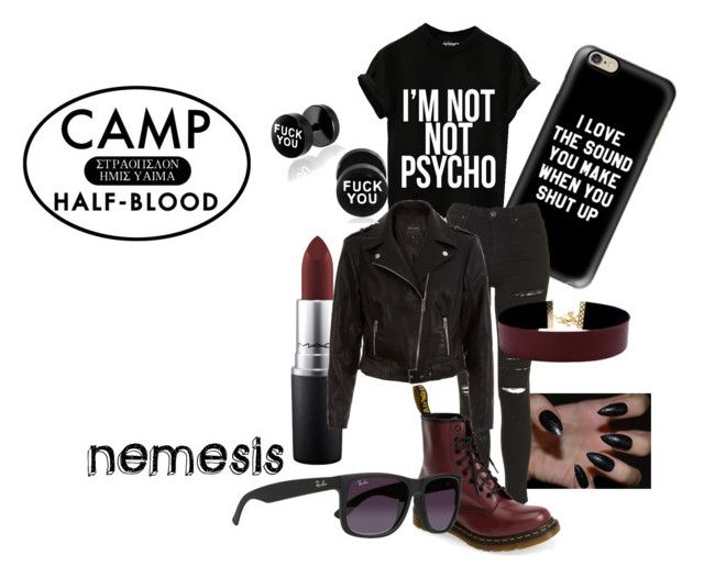 """""""Cabin #16 Nemesis"""" by cwest13 ❤ liked on Polyvore featuring Casetify, MAC Cosmetics, Topshop, New Look, Dr. Martens, Ray-Ban, Vanessa Mooney and camphalfblood"""