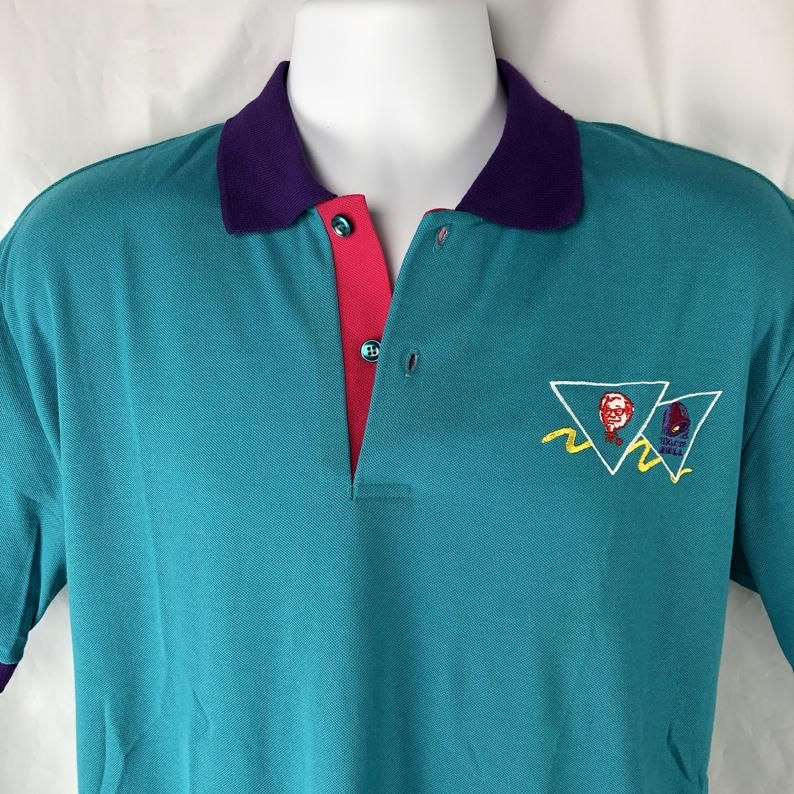 Vintage 90s Taco Bell KFC Employee Pastel Uniform M Polo