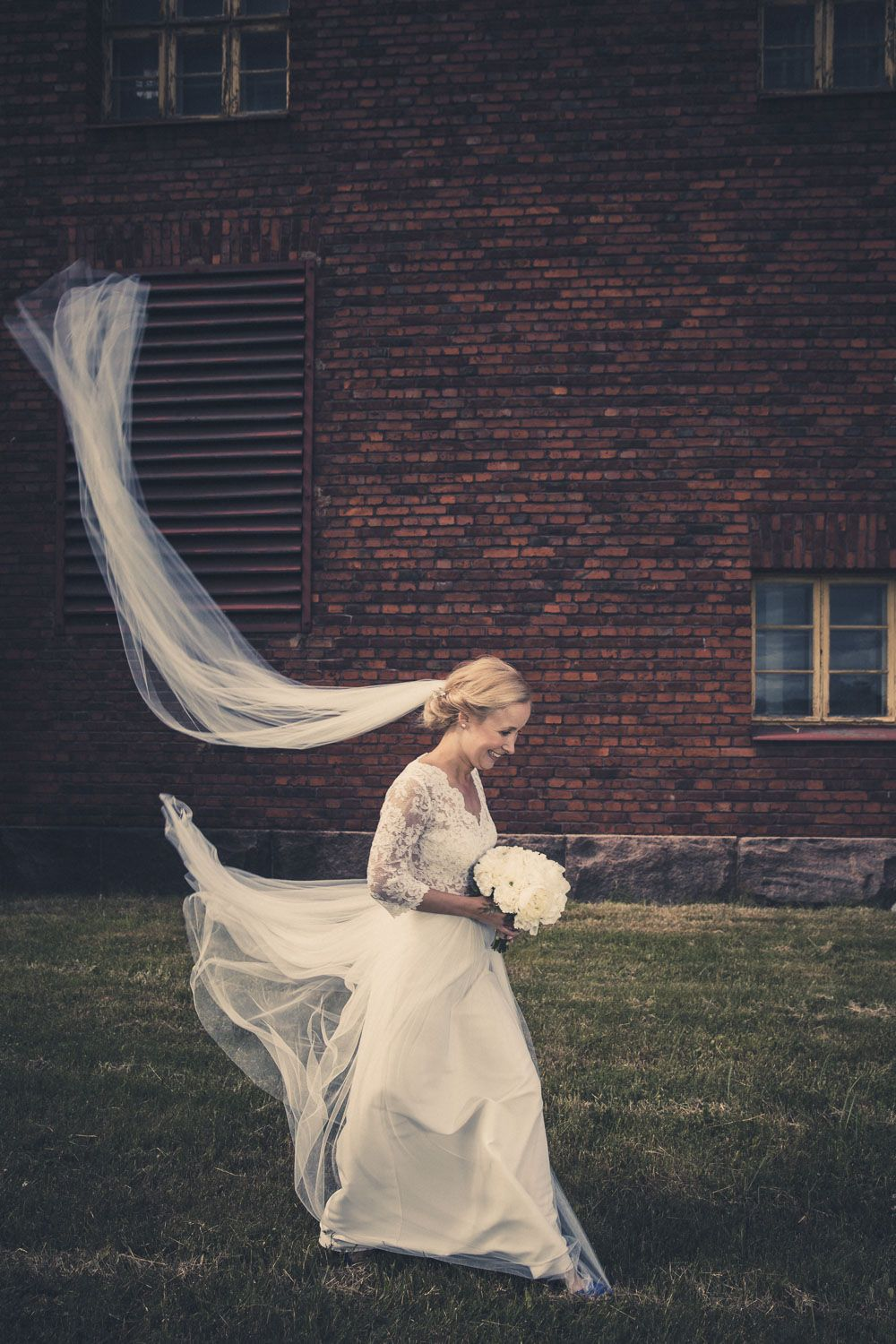 Real wedding in Finland. Dress made by Pukuni (www.pukuni.fi). Wedding dress with lace, tulle and open back. Photography / Risto Kuitunen