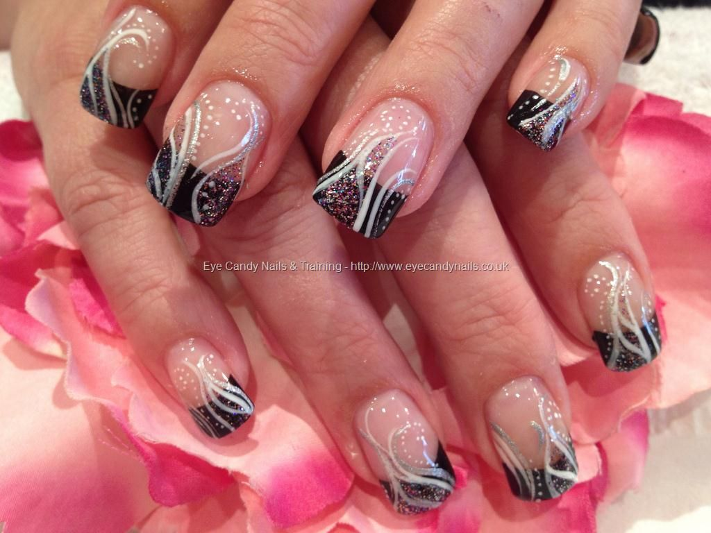 Nail Technician:Elaine Moore Description: Black freehand nail art ...