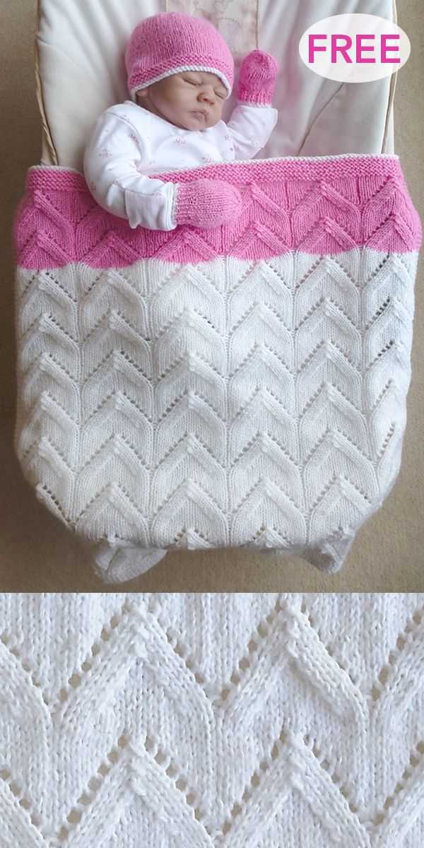 Free Knitting Pattern for Baby Blanket, Hat, and Mittens