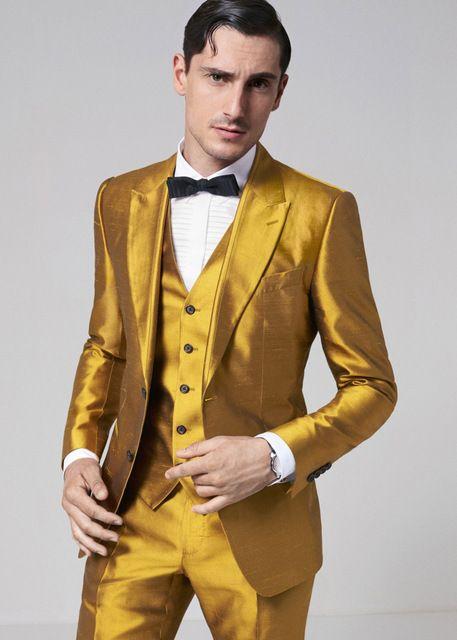006c7c55d3 2017 Latest Coat Pant Designs Gold Satin Men Suit Formal Skinny Stage Blazer  Shining Prom Tuxedo Custom 3 Piece Jacket Terno hgp