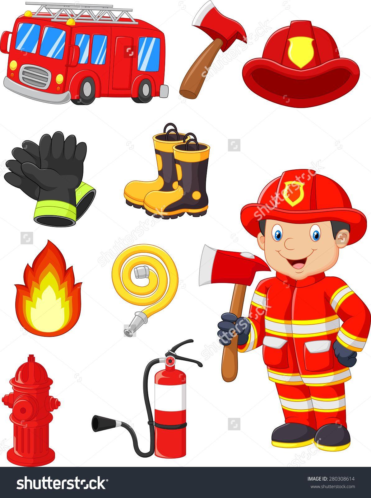 Stock Vector Cartoon Collection Of Fire Equipment