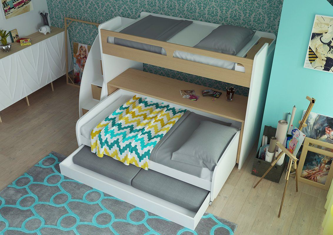 Gautreau Twin L Shaped Bunk Bed With Trundle And Drawers Trundle Bed Bunk Bed With Trundle Twin Bunk Beds