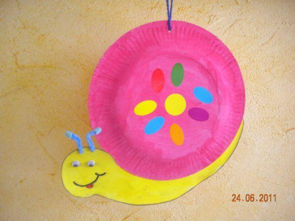 Escargot rose bricolage avec assiette en caton activit enfant - Escargot maternelle ...