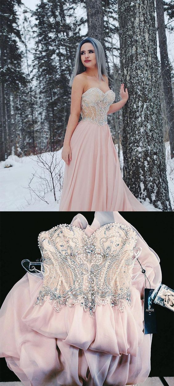 Sweetheart Prom Dresses,Beaded Prom Dress,Pink Prom Dresses,Long ...