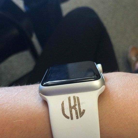 Glitter Fitbit Monogram Vinyl Decal Apple Watch Personalized