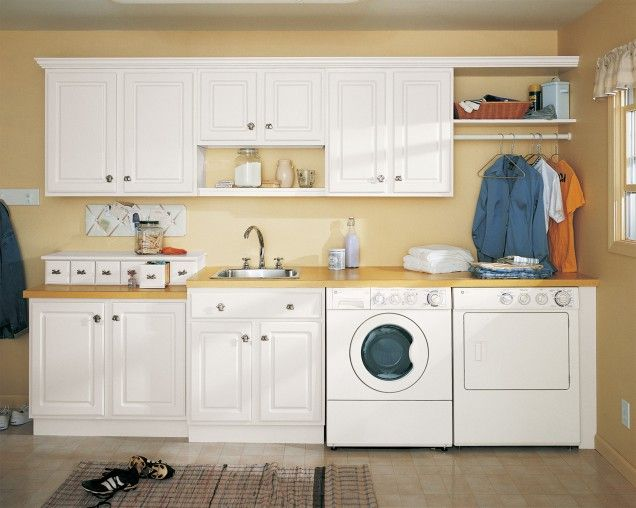 Laundry Room: Corner Hanging Rod Under Wall Shelf With Drop In Sink And  Smart Laundry