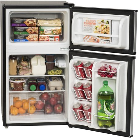 Arctic King 3 2 Cu Ft Two Door Mini Fridge With Freezer Stainless Steel Walmart Com Mini Fridge With Freezer Mini Fridge Dorm Fridge