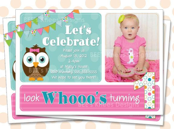 1st Birthday Invitation Owl Will Work For Any Age Look Whos Turning 1 2 3 4 1400 Via Etsy