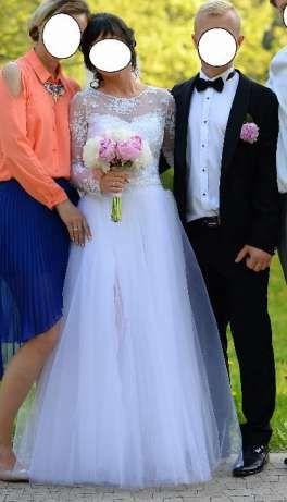 Suknia ślubna Biała Wycięte Plecy Styl Sylwia Kopczyńskadługi