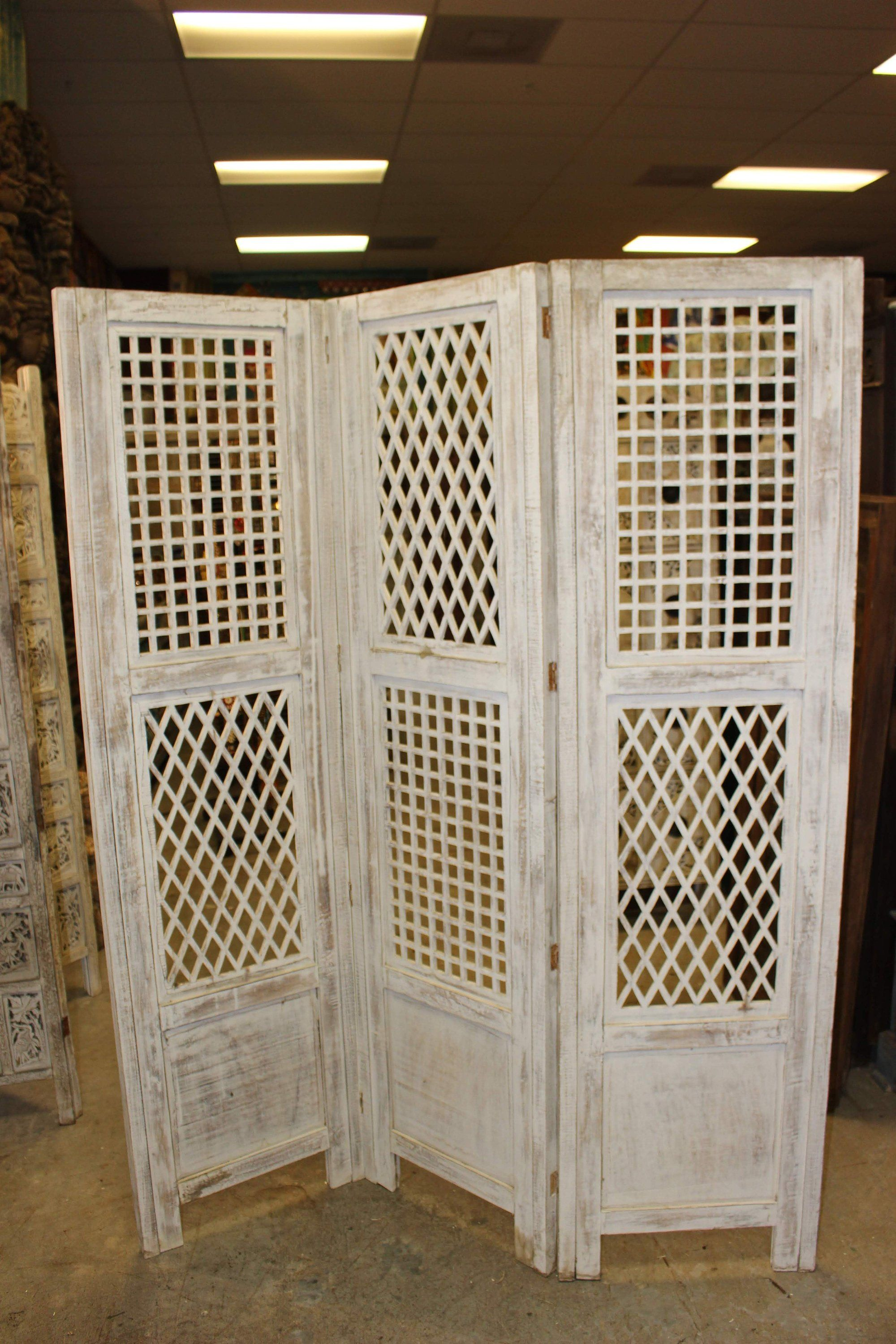 3 Panel Solid Wood Screen Room Divider Blinds Shades: Intricate Indian Vintage Solid Sheesham (Indian Rosewood