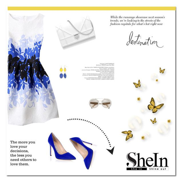 """My destination"" by stream ❤ liked on Polyvore featuring WithChic, Manolo Blahnik, New Directions, Dominique and Heidi Swapp"