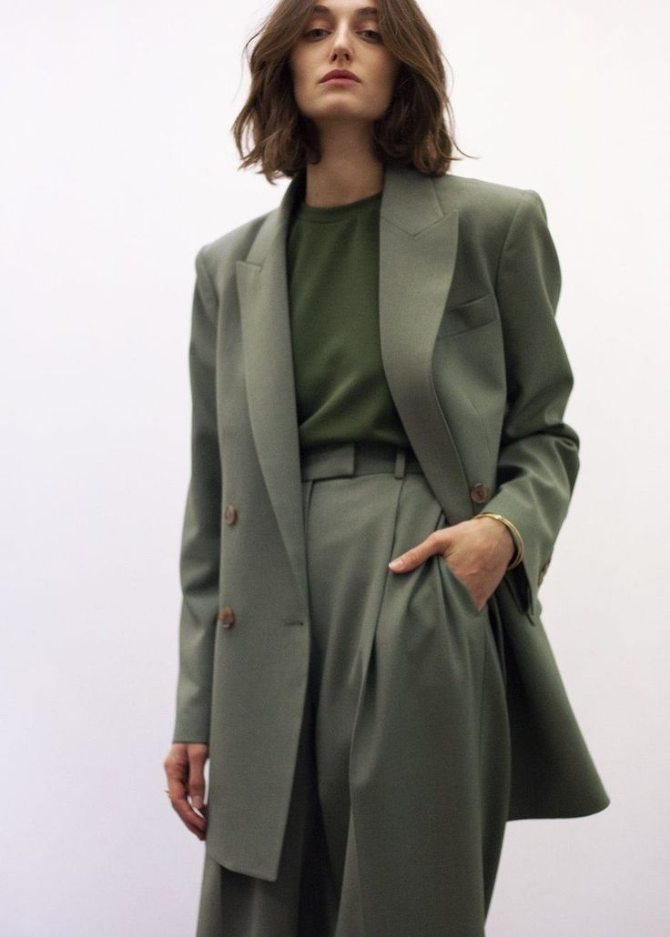 Elvira Double Breasted Suit Blazer in Khaki Green
