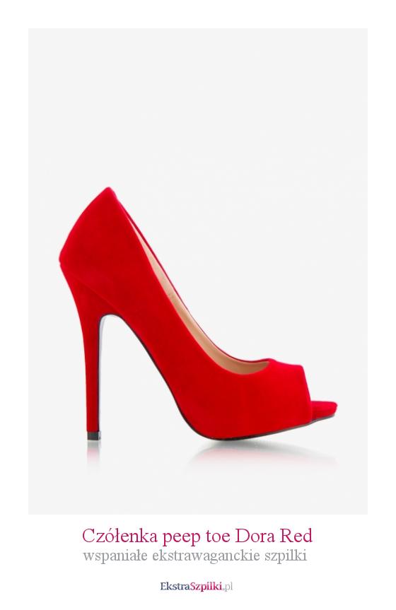Szpilki Czerwone Czolenka Peep Toe Dora Red Wspaniale Ekstrawaganckie Szpilki Stiletto Heels Heels Stiletto