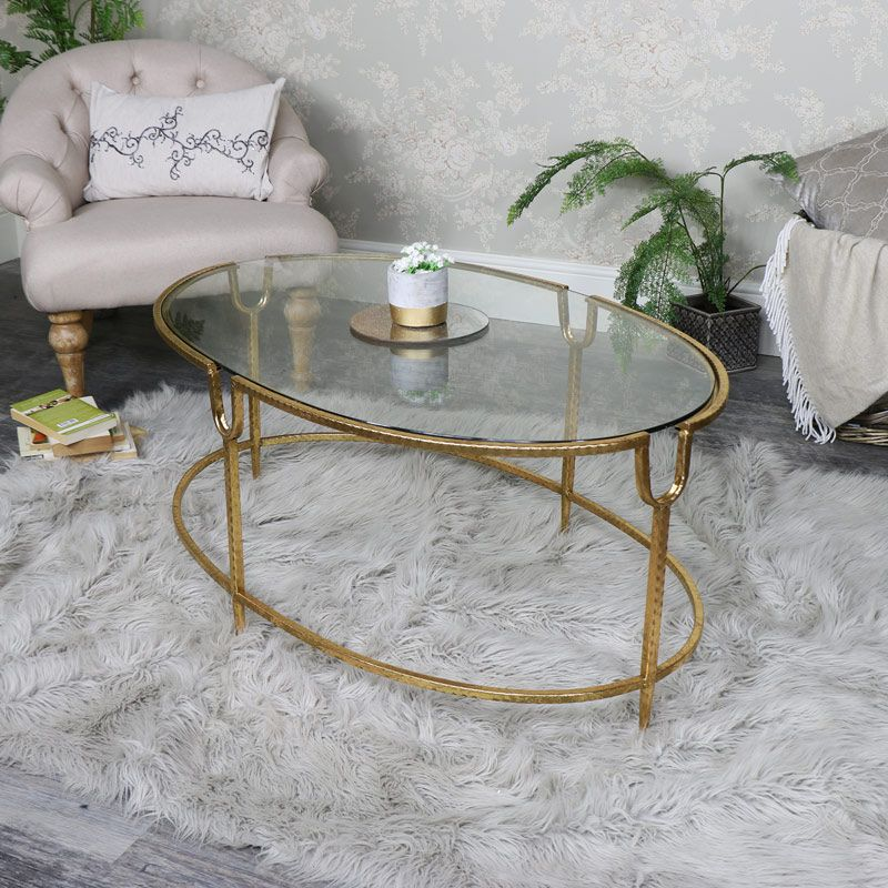 Large Gold Oval Gl Topped Coffee Table In