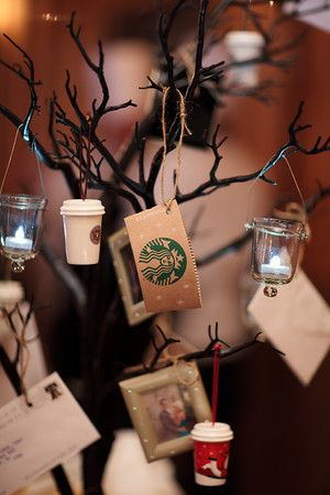 """An """"us"""" tree. Had mini tealights, starbuck's coffee sleeves and ornaments, as well as some of the envelopes from the love notes Nic wrote me while we were apart. Our first date was at Starbucks. - photography by www.coryandjackie.com."""