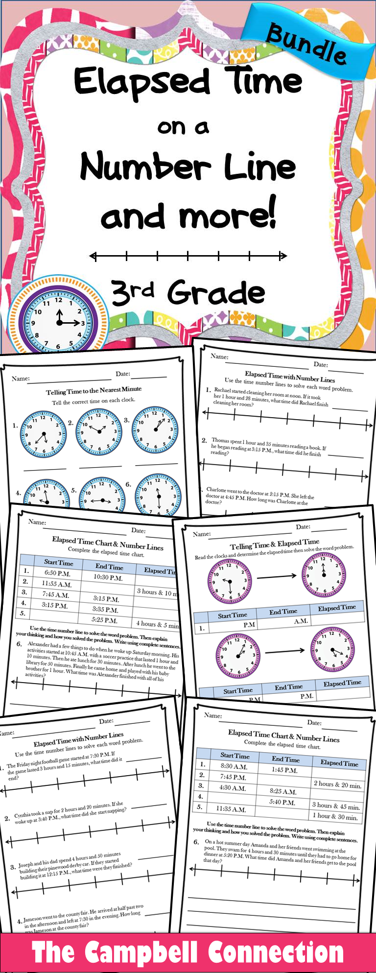 Elapsed Time on a Number Line and More Practice | time | Pinterest