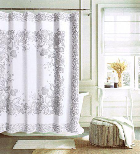 Tommy Hilfiger Cotton Shower Curtain Bordered Vintage Large