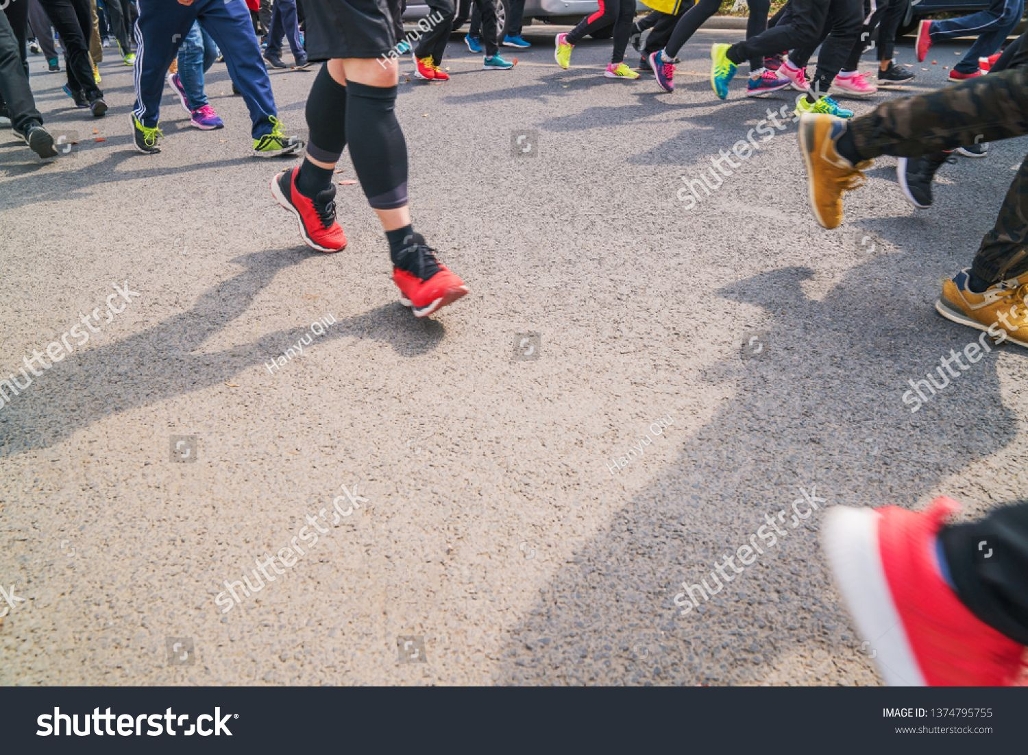 Sportsloving people running in the park