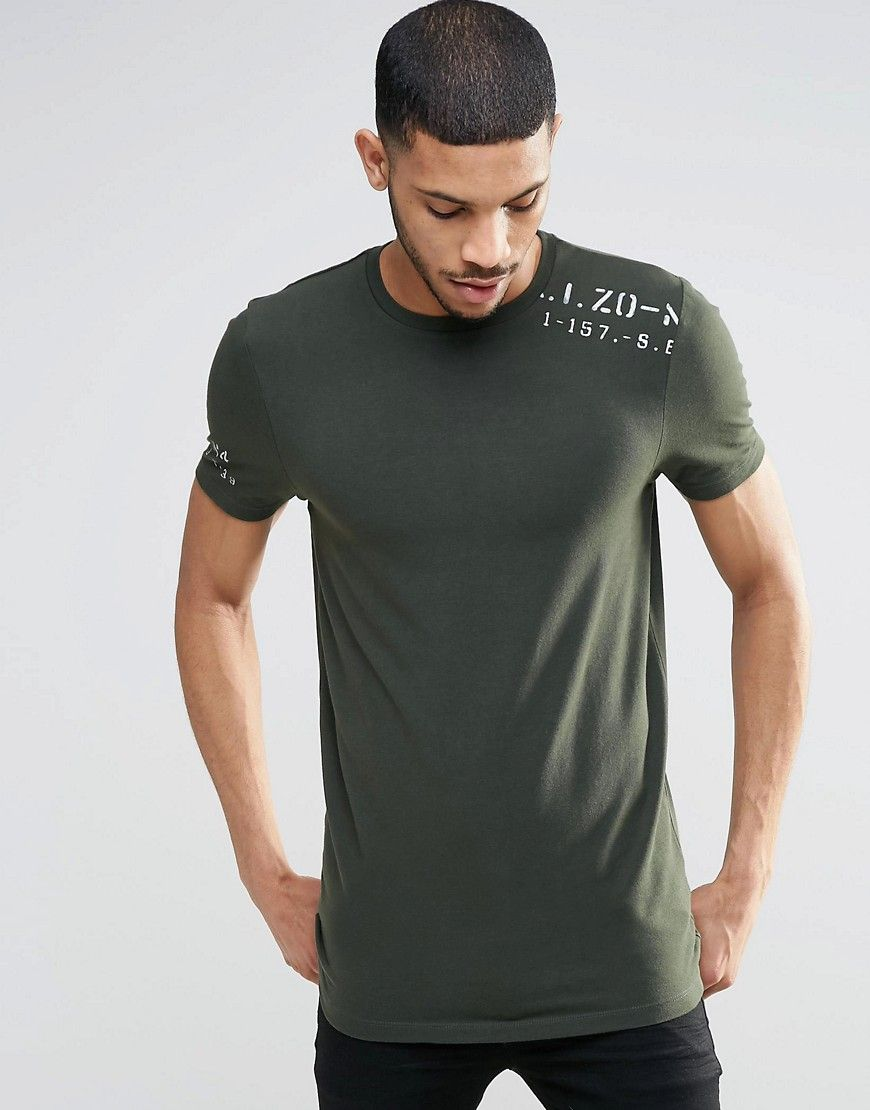 9dc8f91bb Image 1 of ASOS Longline Muscle T-Shirt With Military Stamp Shoulder Print