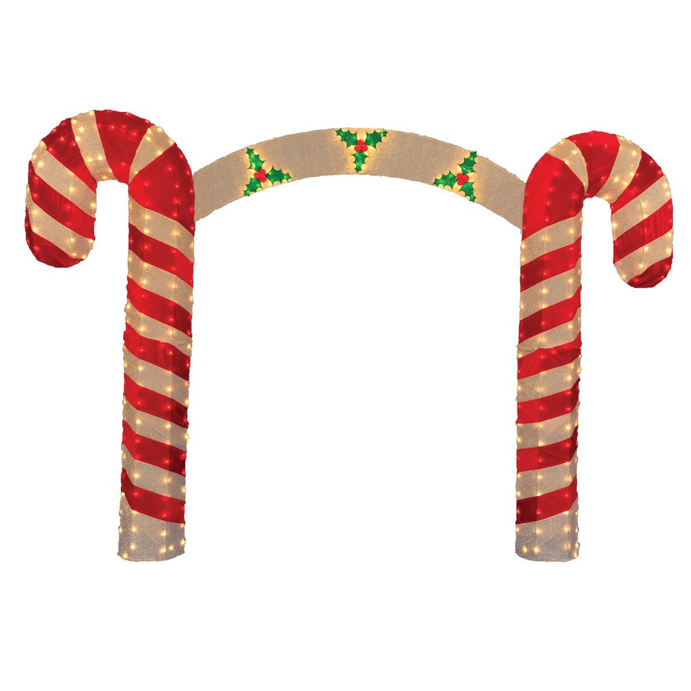 Lighted Candy Cane Decorations 10' Prelit Candy Cane Christmas Archway Yard Art Decoration