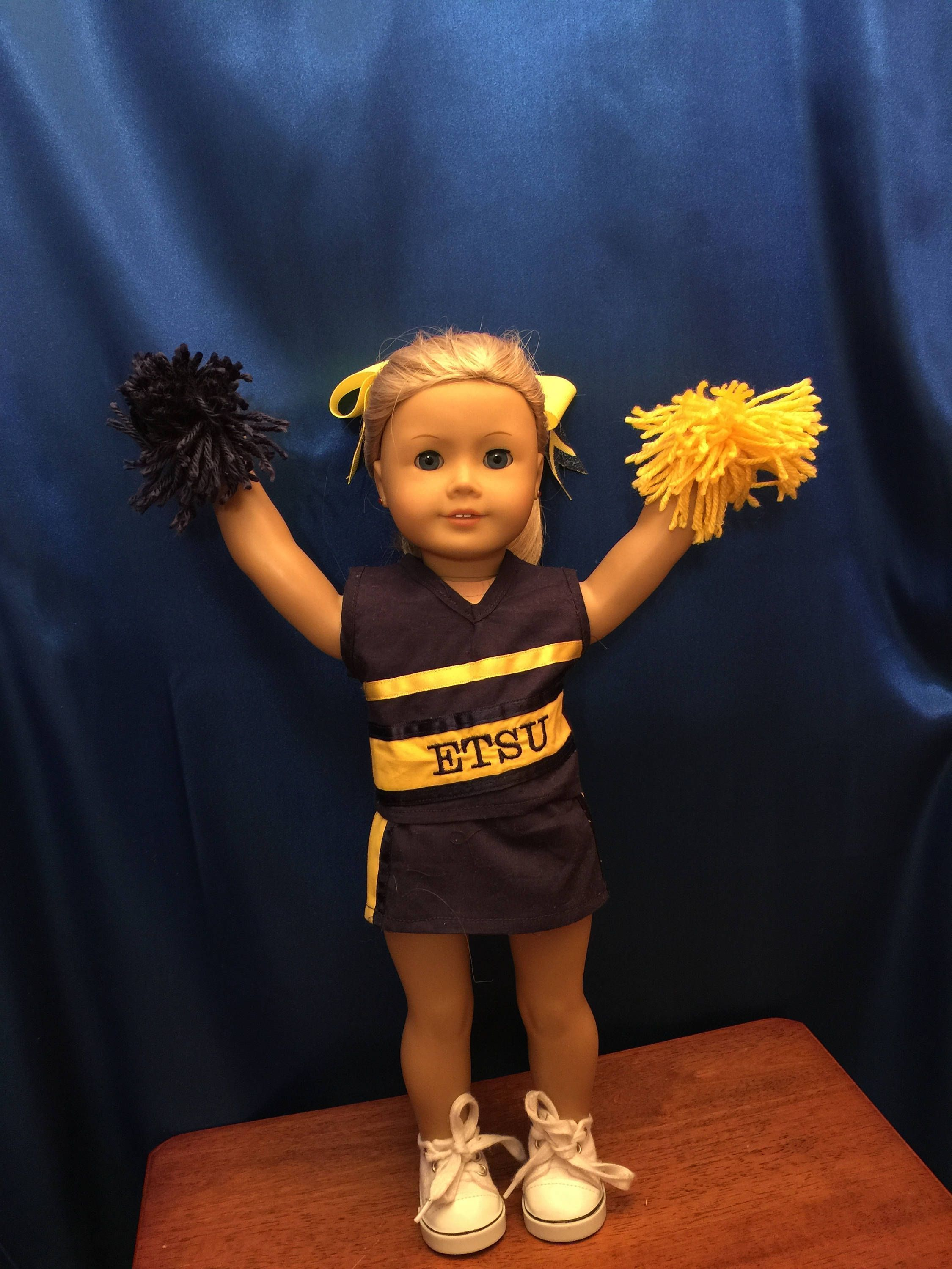 American Made ETSU Cheerleading Outfit For 18 Inch Dolls Like American Girl Dolls: Sale Includes Top, Skirt, Bloomers, Pom-poms And Hair Bow #18inchcheerleaderclothes Homemade ETSU Cheerleading Outfit For 18 Inch Dolls Like American Girl Dolls: Sale Includes Top, Skirt, Bloomers, Pompoms And Hair Bow by CutzieDollFashions on Etsy #18inchcheerleaderclothes American Made ETSU Cheerleading Outfit For 18 Inch Dolls Like American Girl Dolls: Sale Includes Top, Skirt, Bloomers, Pom-poms And Hair Bow # #18inchcheerleaderclothes