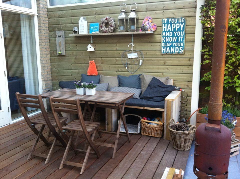 Steigerhouten bank naar eigen ontwerp Tafels en stoelen van Ikea ...