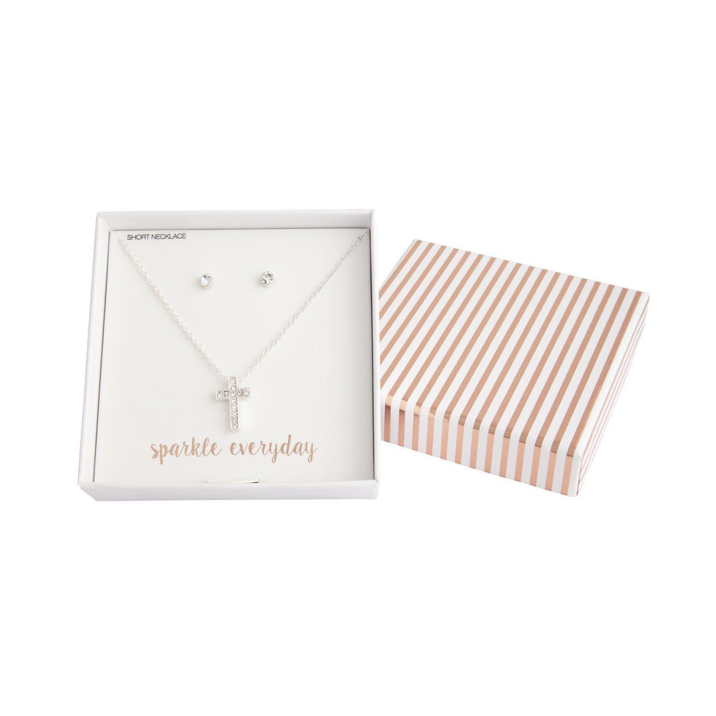 Silver Diamante Cross Necklace Earring Set Lovisa Jewellery
