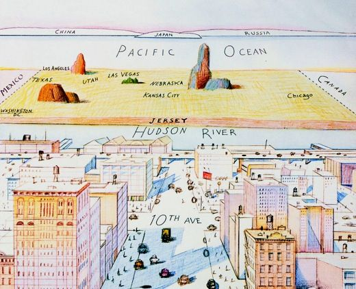 Detail From The World As Seen From 9th Avenue By Saul Steinberg In