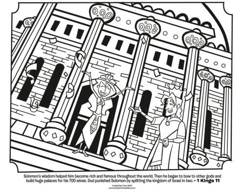 Kids Coloring Page From Whats In The Bible Featuring King Solomon And His Wives 1 Kings 11 Volume 6 A Nation Divided