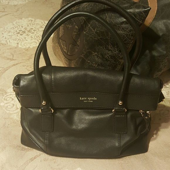 Authentic Kate Spade Handbag Black Leather 14 X 11 In Good Used Condition Missing Long Strap