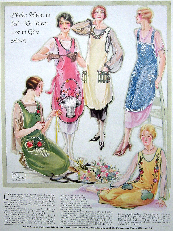 Vintage Apron Pattern Fashion llustration - Make to Sell Give or ...